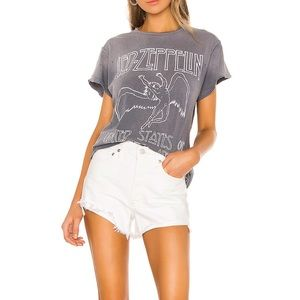 AGOLDE white parker vintage cut off shorts